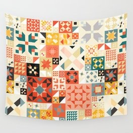 Modern Quilt Pattern Wall Tapestry