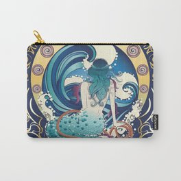 Blue Mermaid with anchor art nouveau design Carry-All Pouch