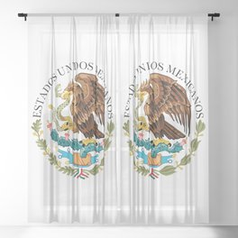 Flag of Mexico - alt version with seal insert Sheer Curtain