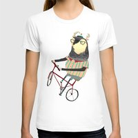 bike T-shirts featuring Deer on Bike.  by Ashley Percival illustration