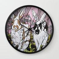 bunny Wall Clocks featuring Bunny by Dawn Patel Art