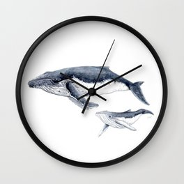 Humpback whale with calf Wall Clock