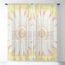 Sunshine Yellow Flower Mandala Abstract Sheer Curtain