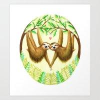 sloths Art Prints featuring Sloths in Love by Kirsten Sevig