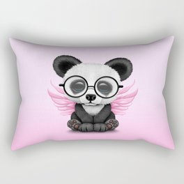 Cute Panda Cub with Fairy Wings and Glasses Pink Rectangular Pillow