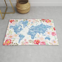 Blue and hot pink floral watercolor world map with cities Rug