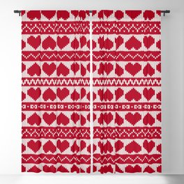 Fair Isle Valentines Day - Red Blackout Curtain