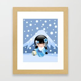 Japanese Winter Kokeshi Doll at Blue Mountain Framed Art Print