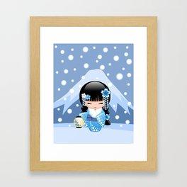 Japanese Winter Kokeshi Doll at Blue Mountain Framed Art Print