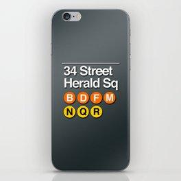 subway herald square sign iPhone Skin