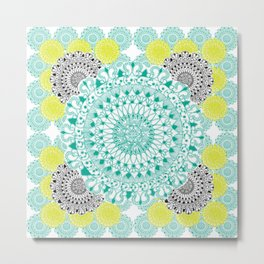 Mint,Yellow, and Black Mandala Pattern Metal Print