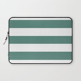 Wintergreen Dream - solid color - white stripes pattern Laptop Sleeve