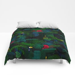 Animals in the jungle on the ruins Comforters