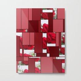 Red Rose Edges Art Rectangles 8 Metal Print