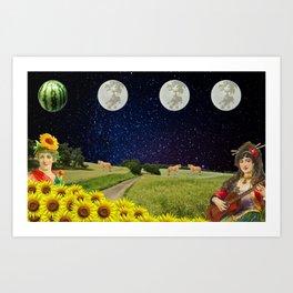 Watermelon Moon Art Print