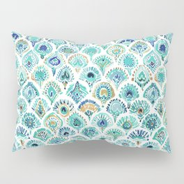 PEACOCK MERMAID Nautical Scales and Feathers Pillow Sham