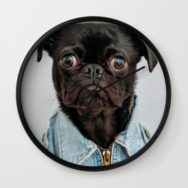 Cute Black Dog - Face Portrait Wall Clock