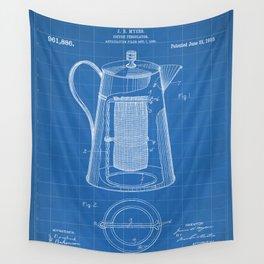 Coffee Percolator Patent - Coffee Shop Art - Blueprint Wall Tapestry