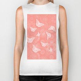 A flutter of butterflies on peach mandala patterns Biker Tank