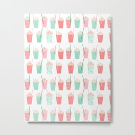 Cold summer drinks iced latte coffee milkshake ice cream hot beach day vacation food treat kids Metal Print