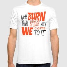 Burning Bridges v.2 Mens Fitted Tee MEDIUM White