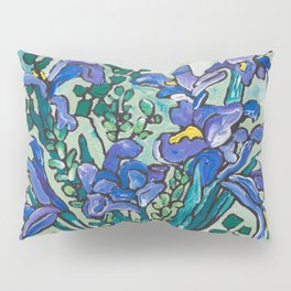 Iris Bouquet in Blue and White Asian Tiger Jar on Green and Coral Pillow Sham