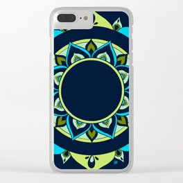 Mandala Blue Green By Sonia H. Clear iPhone Case