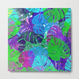 monstera leaves tropical Metal Print