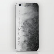 The Mountains are Calling Black and White Quote Photograph iPhone & iPod Skin