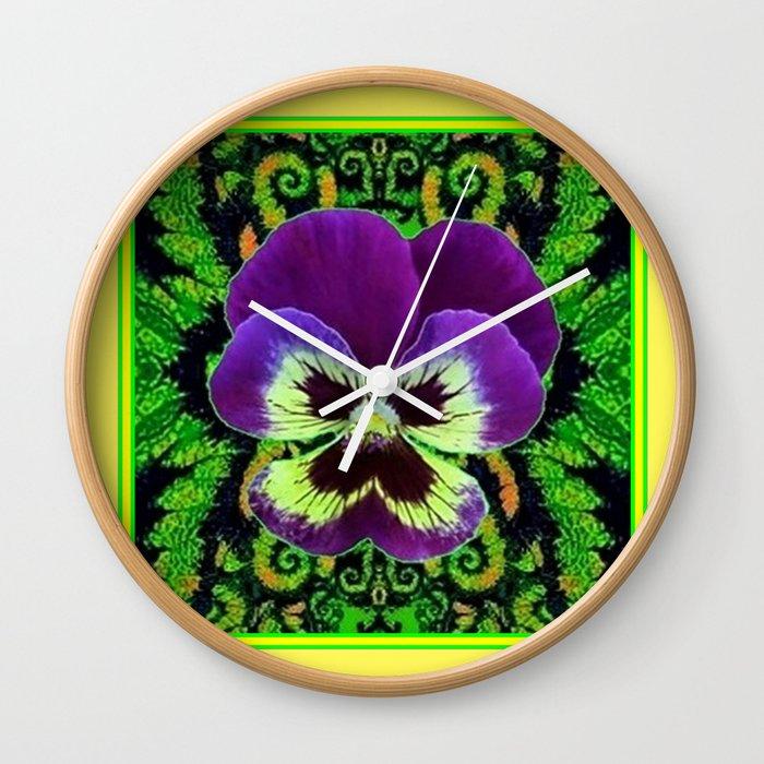 Yellow Color Purple PANSY Green Garden art Wall Clock