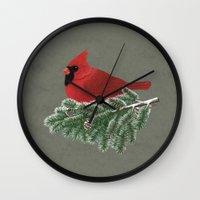 cardinal Wall Clocks featuring Cardinal by Sam Magee