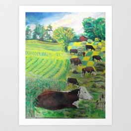 A cow's dream Art Print