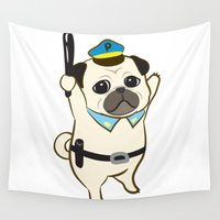 police Wall Tapestries featuring Animal Police - Pug by Tetchan