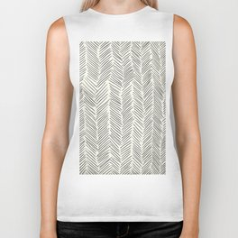 Herringbone Black on Cream Biker Tank