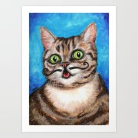 lil bub Art Prints featuring Lil Bub - Cats with Moustaches by Megan Mars