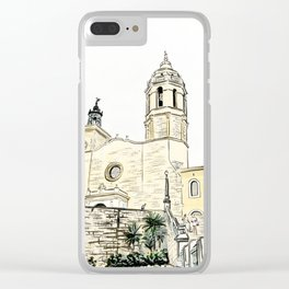 Stairs to the Beach from a medieval Church in Sitges near Barcelona Clear iPhone Case