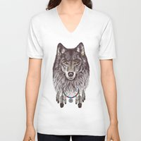 wolf V-neck T-shirts featuring Wind Catcher Wolf by Rachel Caldwell