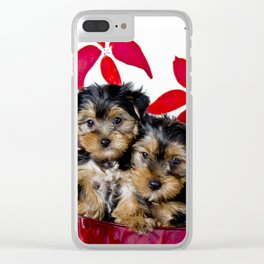 Snuggling Christmas Yorkie Puppies Clear iPhone Case