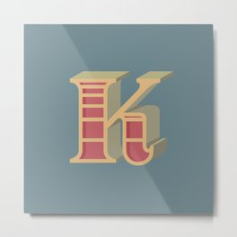 Alphabet Drop Caps Series- K Metal Print