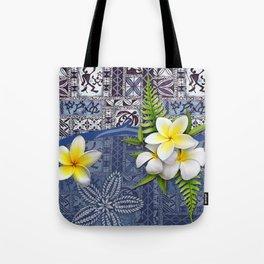 Blue Hawaiian Tapa and Plumeria Tote Bag