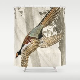Pheasant flying down from the tree - Vintage Japanese woodblock print Shower Curtain