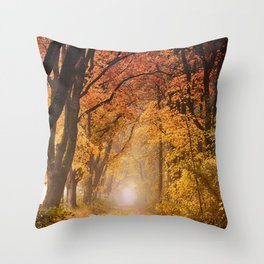 Autumn Fall Forest Path -  Nature Landscape Photography Throw Pillow