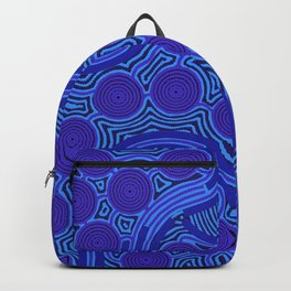 The Rivers around Us (blue) - Authentic Aboriginal Art Backpack