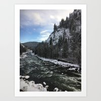 Snowy banks Art Print