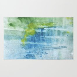 Blue green colored wash drawing Rug