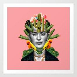 pinky frida cactus Art Print