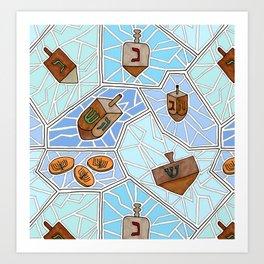 Hanukkah Dreidel and Gelt Mosaic in Light Blues Art Print