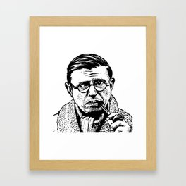 Drawing of Jean Paul Sartre by Woody Compton Framed Art Print