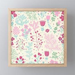 Elegant Pink Ditsy Floral Pattern Framed Mini Art Print