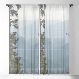 Mount Rainier Summer Adventure III - Pacific Northwest Mountain Landscape Sheer Curtain